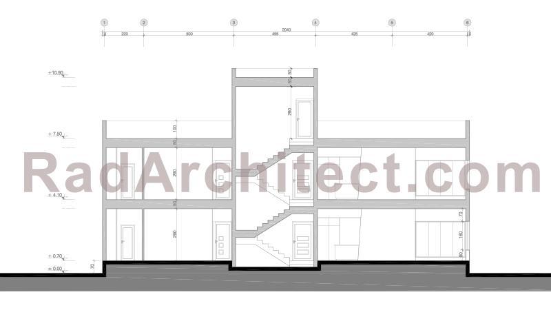 برش معماری ساختمان مسکونی