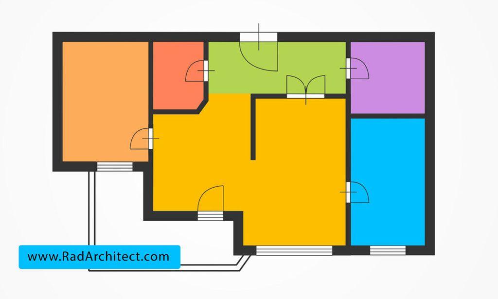 مساحت فضاهای داخلی در طراحی نقشه ساختمان مسکونی