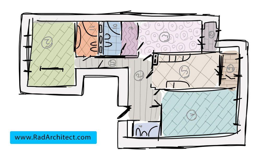 طراحی نقشه ساختمان مسکونی سه خوابه