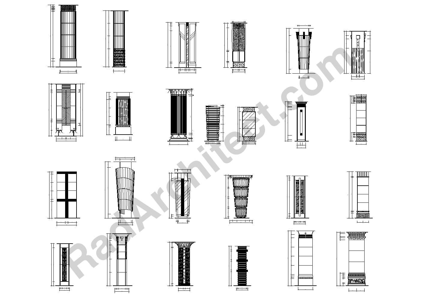 بلوک آماده طراحی ستون در معماری